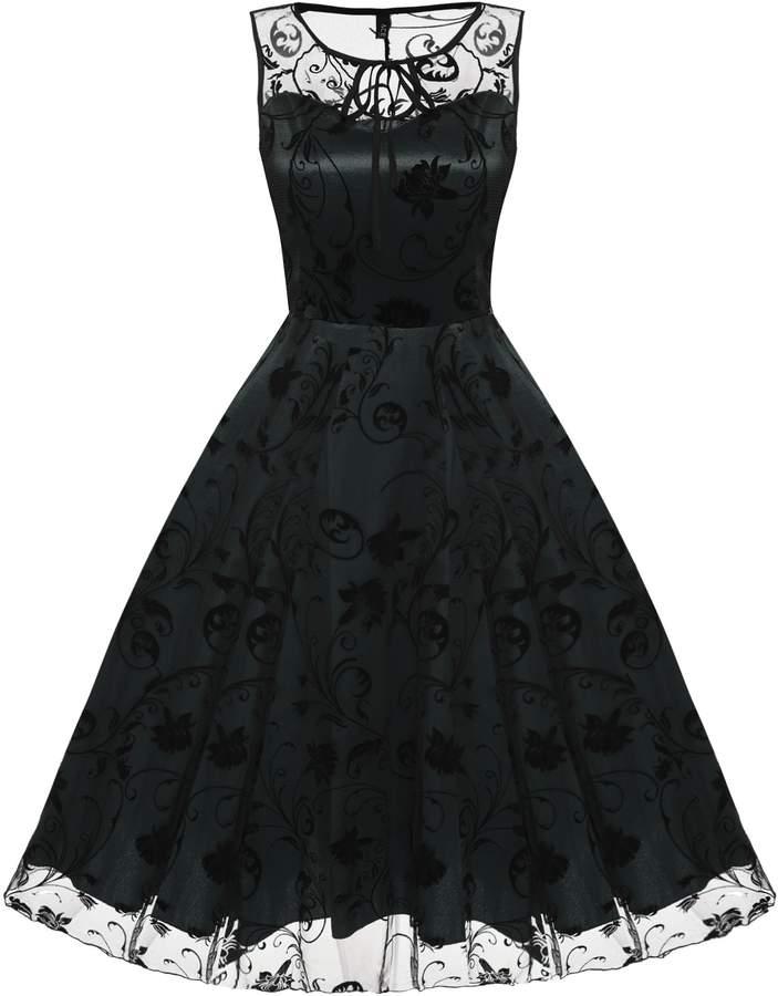 ACEVOG Women Sleeveless Vintage Floral Lace Tea Prom Dress