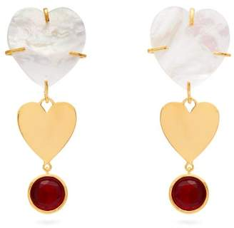 Lizzie Fortunato Ace Of Hearts Mother Of Pearl Earrings - Womens - Pearl