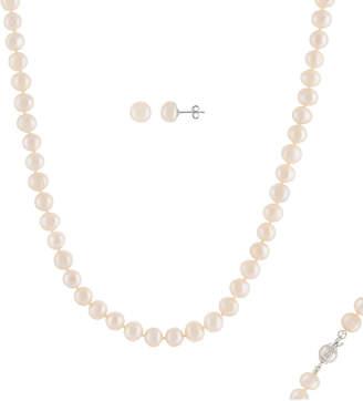 Splendid Pearls Rhodium Plated 7-7.5Mm Pearl Necklace & Earrings Set