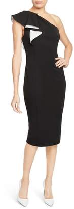 Rachel Roy COLLECTION One-Shoulder Flutter Sheath Dress