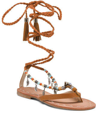 Pendant And Charm Beaded Sandals