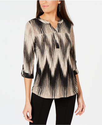 NY Collection Petite Roll-Tab Jacquard Top