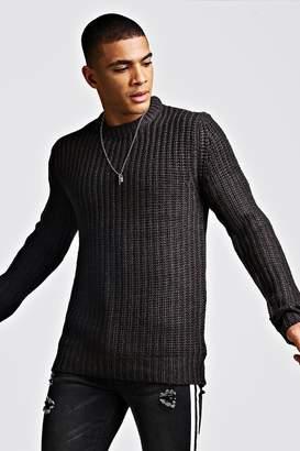 boohoo Drop Shoulder Fisherman Knitted Jumper