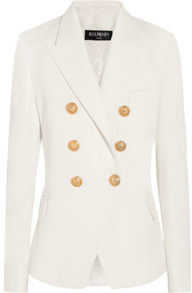 Balmain - Double-breasted Basketweave Cotton Blazer - White $1,955 thestylecure.com