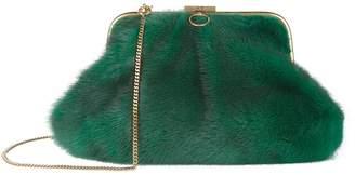 Alessandra Rich Medium Faux Mink Clutch, Green, One Size