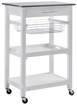 Sunjoy SJ Collection Linden Rolling Kitchen Island Cart Trolley on Wheels with Storage Shelf and Stainless Steel Top, White