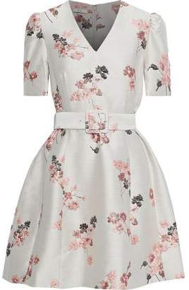 Co Belted Floral-jacquard Mini Dress