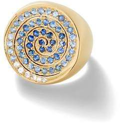 Shebee Gem Spiral Cocktail Ring 10k Gold Sapphire Ring
