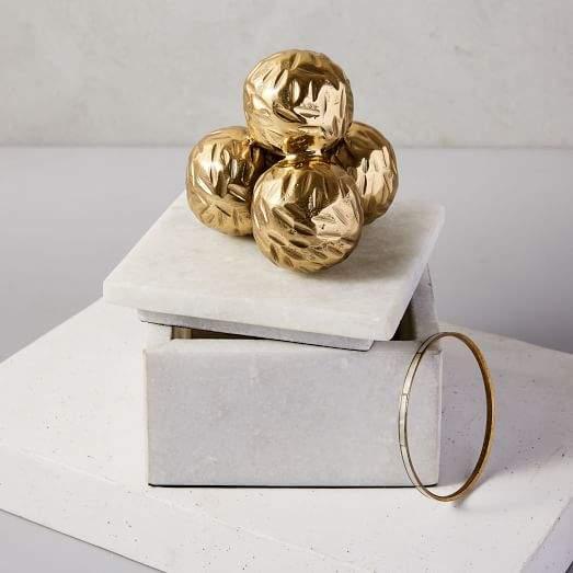 Eduardo Garza Marble Box with Brass Orbs