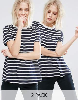 ASOS Swing T-Shirt In Stripe 2 Pack $29 thestylecure.com