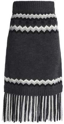 RED Valentino Fringed Intarsia-knit Midi Skirt