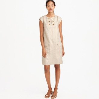 Metallic linen shift dress with grommets $138 thestylecure.com