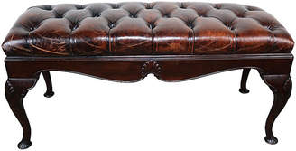One Kings Lane Vintage English Queen Anne Style Leather Bench