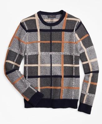 Brooks Brothers Merino Wool Plaid Crewneck Sweater