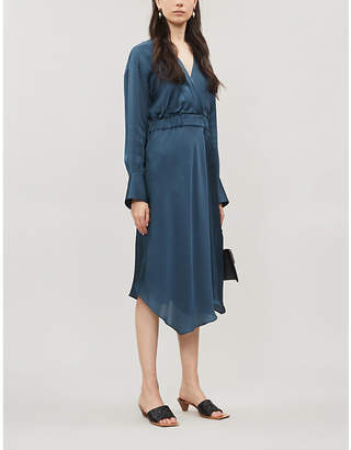 Brunello Cucinelli Asymmetric-hem silk-satin dress