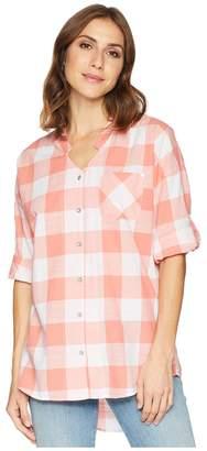 Tribal Slub Cotton 3/4 Sleeve Shirt with Roll Up Women's Clothing
