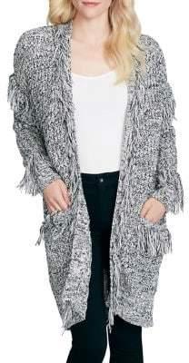 Jessica Simpson Knit Fringe Open Front Cardigan