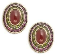 Heidi Daus Button Cabachon Crystal & Rhinestone Earrings