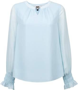 Dorothy Perkins Womens **Billie & Blossom Blue Cuffed Chiffon Blouse