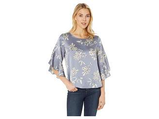 Vince Camuto Bell Sleeve Refined Etched Bouquet Blouse