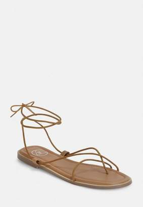 Missguided Tan Minimal Strap Sandals