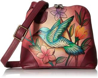 Anuschka Handpainted Leather Small Multi Compartment Zip-Around, Birds in Paradise