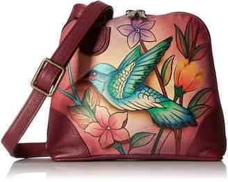 Anuschka Anna by Women's Genuine Leather Small Zip-Around Handbag | Multi Compartment Organizer |Birds in Paradise