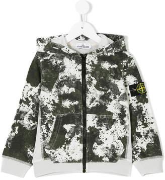 Stone Island Junior camouflage zipped hoodie