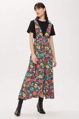 Topshop Tall '80s Floral Pinafore Dress