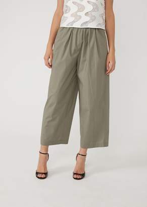 Emporio Armani Technical Cotton Cropped Trousers