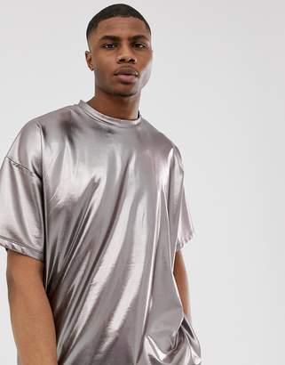 Asos Design DESIGN oversized t-shirt in gunmetal metallic