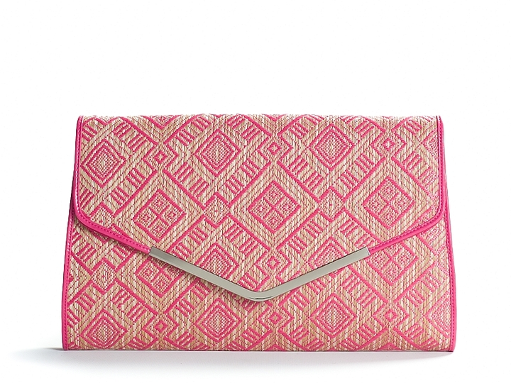Poppie Jones Diamond Pattern Straw Clutch