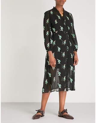 Sandro Sequin-embellished chiffon midi wrap dress