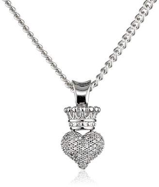 King Baby Studio 3D Crowned Heart Pave Cubic Zirconia with Silver Pendant Necklace