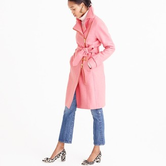 Petite belted zip trench coat in wool melton $398 thestylecure.com