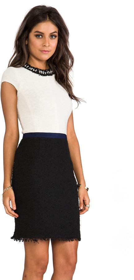Rebecca Taylor Embellished Tweed Dress
