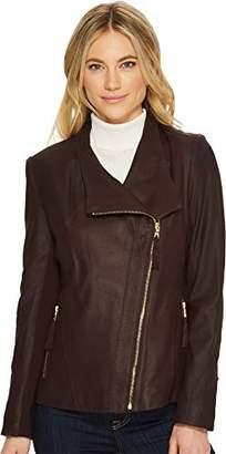 Via Spiga Women's Lightweight Leather Jacket with Tassel Detail