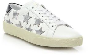 Saint Laurent Court Classic Leather & Metallic Star Sneakers $595 thestylecure.com