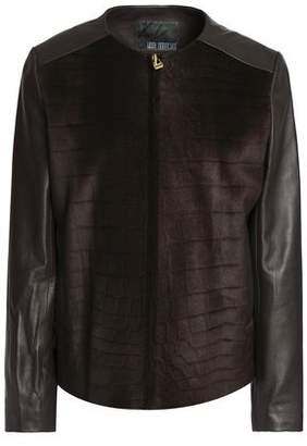 Karl Donoghue Embossed Shearling-Paneled Leather Jacket