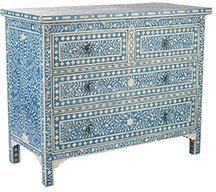 Moorish Chest - Blue Four Drawer