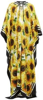 Dolce & Gabbana Sunflower Print Silk Kaftan - Womens - Yellow Print