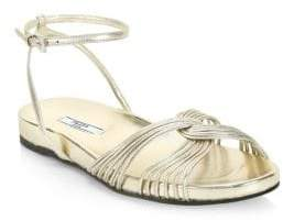 Prada Metallic Leather Ankle-Strap Flat Sandals