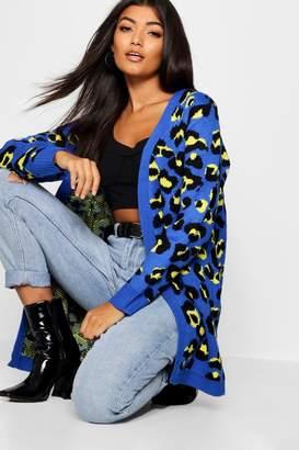 boohoo Bright Leopard Knit Longline Cardigan