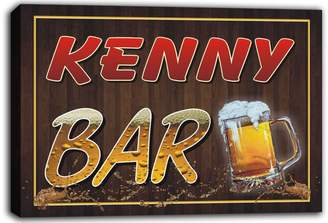 AdvPro Canvas scw3-001972 KENNY Name Home Bar Beer Mugs Stretched Canvas Print Sign