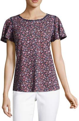 Liz Claiborne Flutter Sleeve Round Neck Floral T-Shirt-Womens