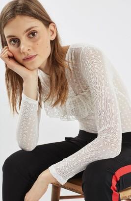 Women's Topshop Polka Dot Lace Bodysuit $55 thestylecure.com