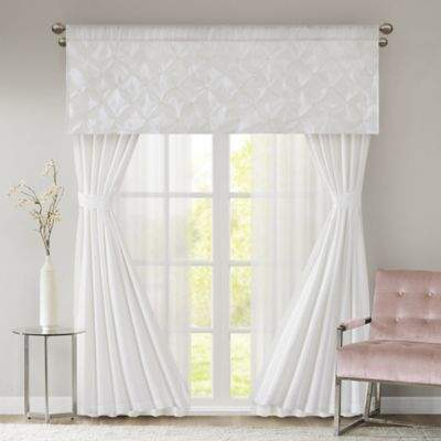 510 Design Vivian 7-Piece 84-Inch Window Panels, Sheers, Valance and Tie Backs Set in White