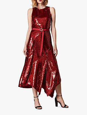 Karen Millen Sequin Asymmetric Hem Midi Dress