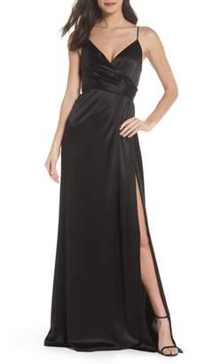 Jill Stuart Faux Wrap Satin Gown