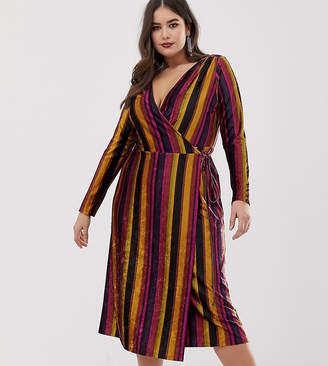 9c61b8175e8 Asos DESIGN Curve rainbow stripe velvet midi wrap dress